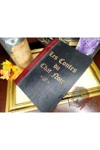 Grimoire bois et cuir relié main - Les contes du chat noir