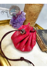 Bourse en cuir fantaisie rouge or