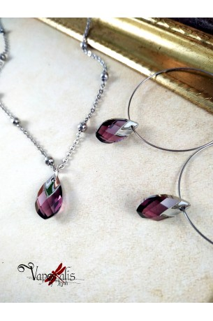 Ondine - Parure collier + boucles d'oreilles -  violine