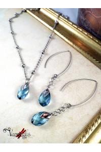 Parure Ondine - Parure collier + boucles d'oreilles - Azur